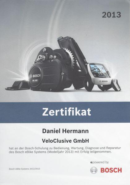 ein Zertifikat ausgestellt auf Veloclusive Bosch Schulung 2013: Bedienung, Wartung, Diagnose und Reparatur des eBike Systems