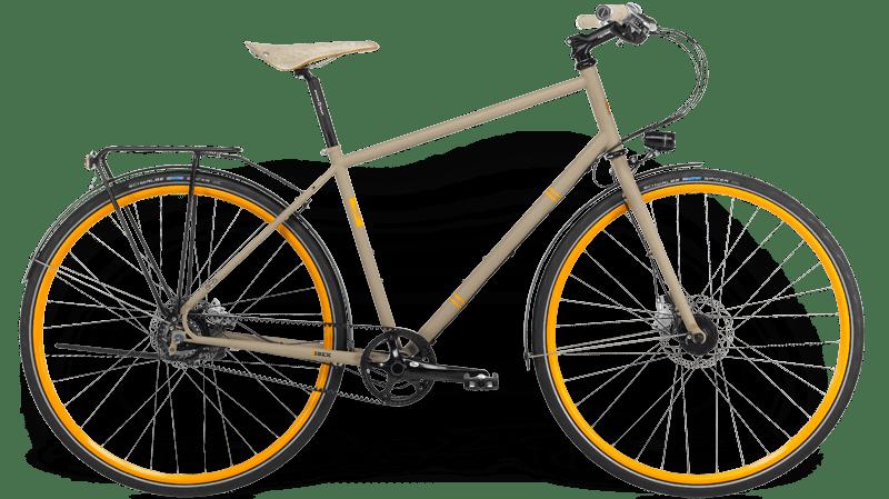 Ibex Citybike with steel frame, gear hub, belt drive, mudguard and lighting, custom painted rims